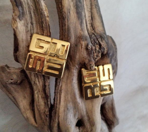 Signed GRES Paris Massive Gold Logo Earrings by MushkaVintage3