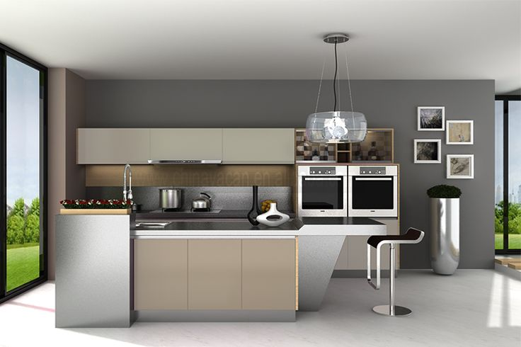modern used lacquer stainless steel display kitchen from Used Metal Kitchen Cabinets For Sale