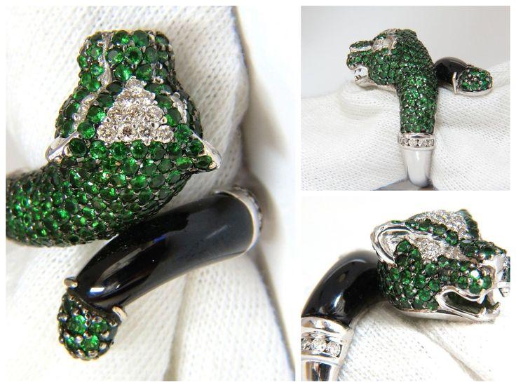 6.50ct natural green tsavorites onyx diamond ring 18kt wild panther couger
