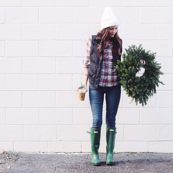 "Jessica Garvin on Instagram: ""Picking up some goodies for our Christmas party this weekend, lots of greenery is a must! Wearing plaid, my favorite puffer vest & @denizenjeans from Target. #HolidaysInDENIZEN"""