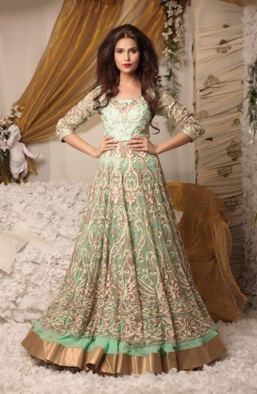 Pale green feminine, flowing and voluminous gown-type lehenga