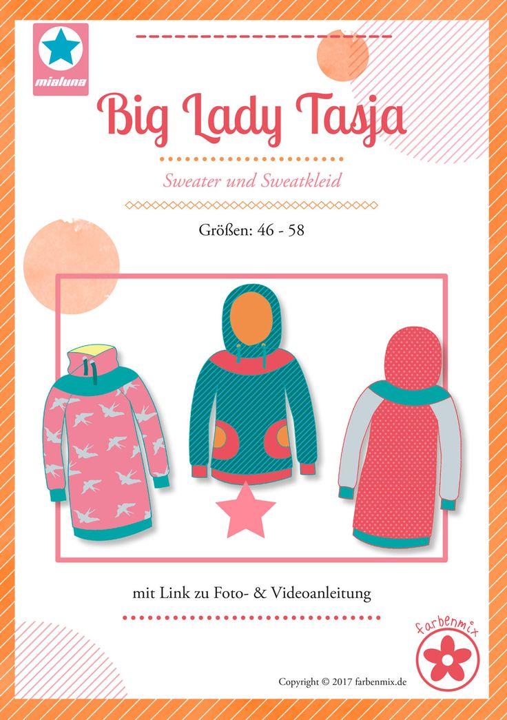 Mehrgrößenschnittmuster, Größen: 46, 48, 50, 52, 54, 56,58 Alle Größen sind auf dem Schnittmusterbogen abgebildet. Hoodie und Kleid Tasja für Damen in großen Größen Big Lady Tasja kann wahlweise als Sweatshirt oder Sweatkleid genäht...
