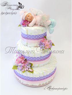 """Торт из памперсов для новорожденной девочки """"Феечка"""""""