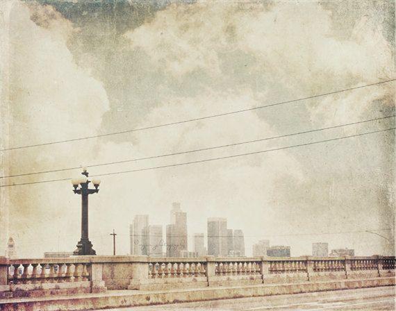 LA photography, downtown Los Angeles skyline photograph, June Gloom, grey skies industrial dark city, bridge, loft decor neutral for him