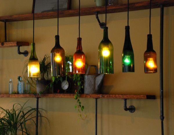 Reusing Glass Bottles 11 600x465 Make a Chandelier for Reusing Wine Glass Bottles