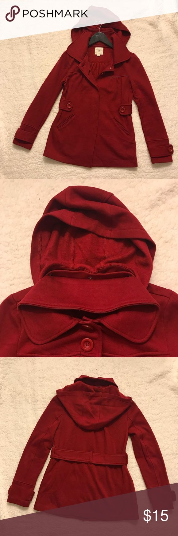 Forever 21 Red Jacket / Coat Forever 21 Red Jacket/Coat Size Small Hood is removable, button down with 2 pockets on the side  Worn only once for a few hours.  Still in like new condition. 60% cotton 40% polyester  ✨ Comes from a pet-free, smoke-free home ✨ If you would like any additional photos or have questions please let me know ✨ Sorry no trades but will listen to all fair offers.  Thanks for shopping! 😊 Forever 21 Jackets & Coats