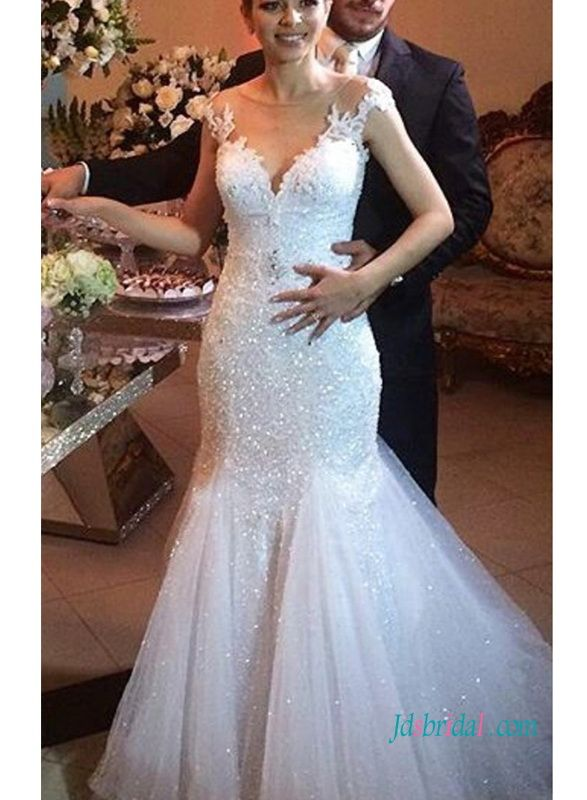 Sparkly Cap Sleeves Lace Mermaid Wedding Bridal Gown Beautiful