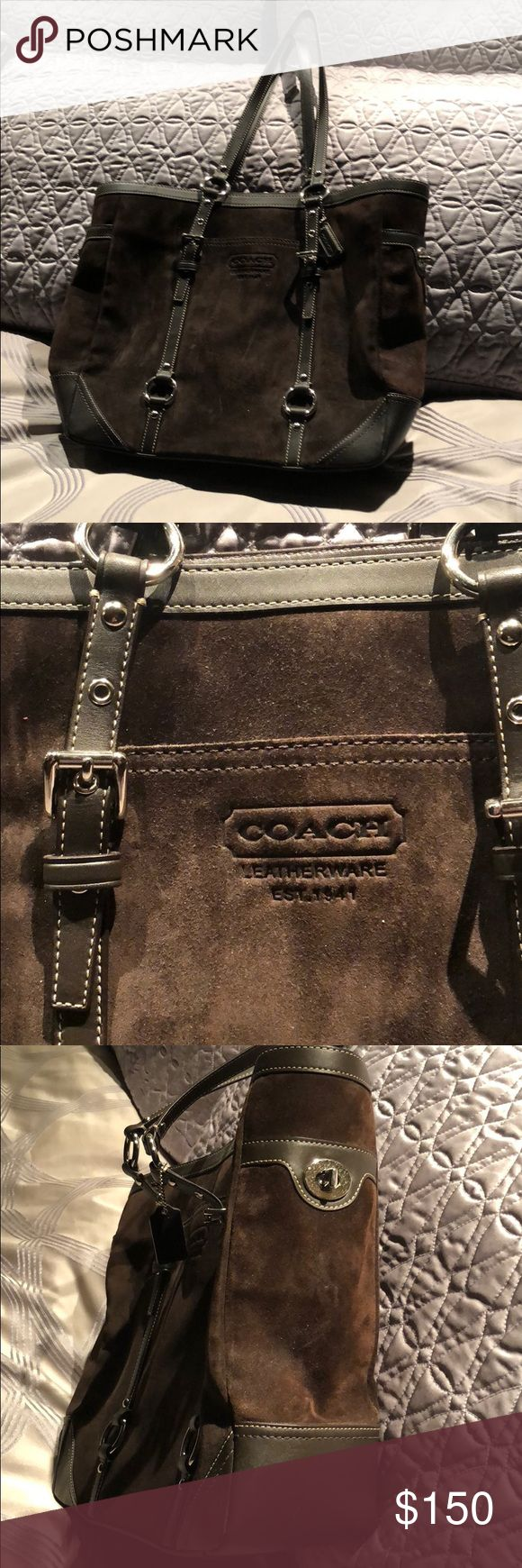Suede Coach Shoulder Bag Brown suede Authentic Coach pocketbook with silver hardware  Gently used with a little discoloration on the back of purse. Used 2-3 times Coach Bags Shoulder Bags