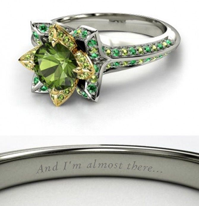 Disney Princess Promise Rings: Tiana Engagement Ring. It Is A Lotus Flower!