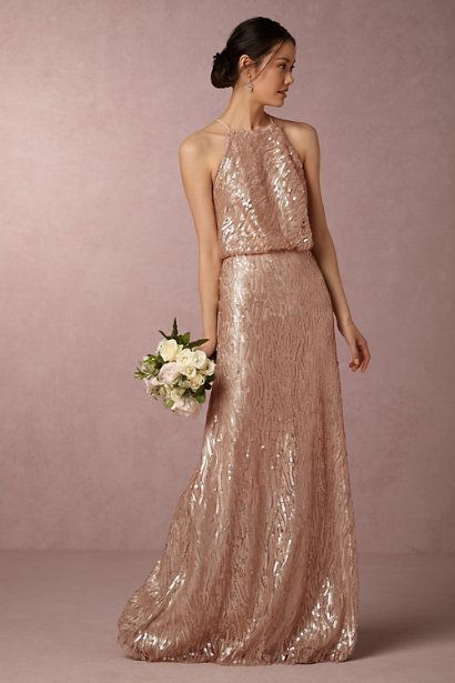 Rose Gold Sequin Bridesmaid Dress. A blush sequin rose gold bridesmaid dress for weddings or black tie events. Wear it as a special gown to galas and holiday events.