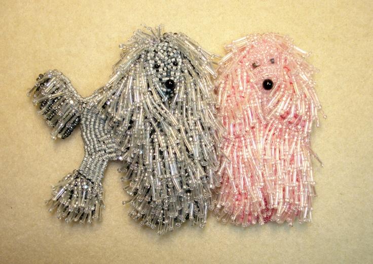 Microesferas maco de cuentas rosa- gris perros caniches bordados con cable collar de cuentas
