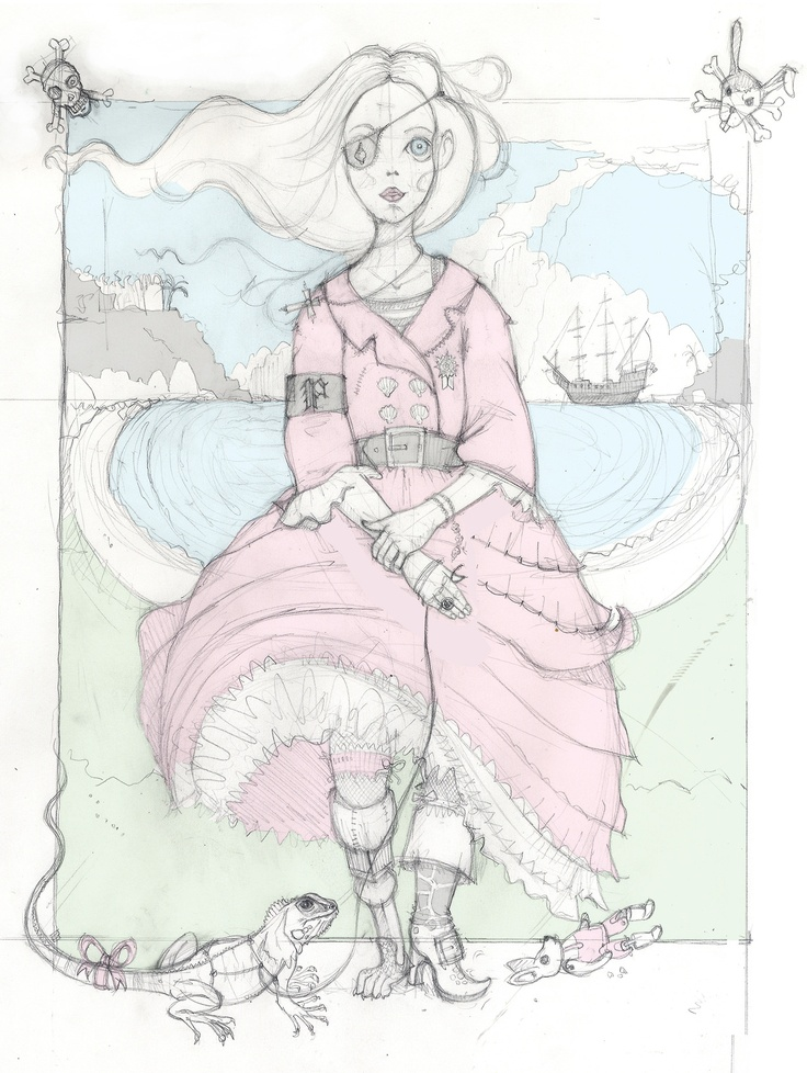 Draft sketch for an illustration & fashion project