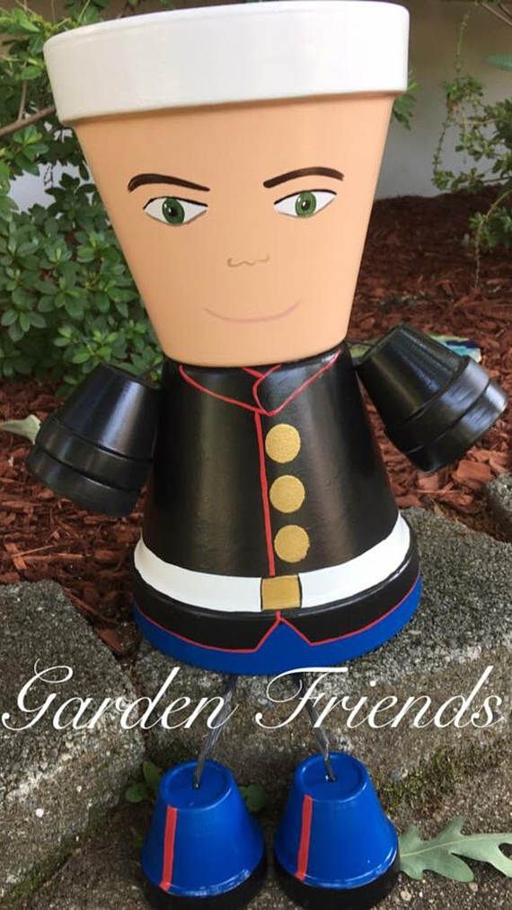 US Army Navy Coast Guard Clay Planter Pot  People Military
