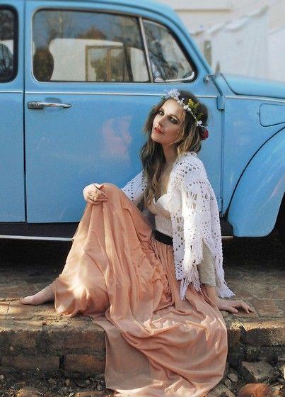 peach and creme maxi dress // boho style
