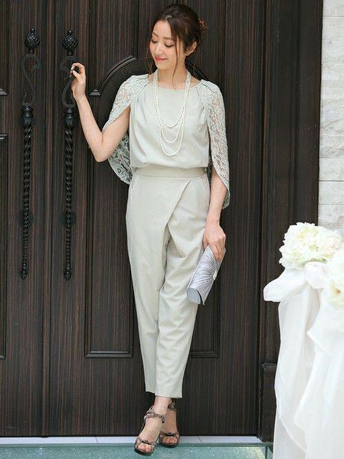 MODEL|REMI SAKAMOTOさんのつなぎ/オールインワン「\平子理沙さん着用/レーススリーブセットアップパンツスタイル【結婚式・お呼ばれ対応】(DRESS LAB|ドレスラボ)」を使ったコーディネート