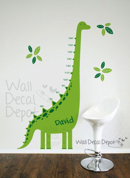 Dinosaur growth chart. So cute!  Kids Wall Decal Wall Sticker Nursery Art  by WallDecalDepot, $72.00