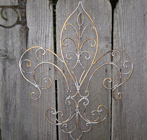 Wrought Iron / Fleur de lis Wall Decor / Shabby Chic /Gold Antique Finish / Shabby Chic Decor