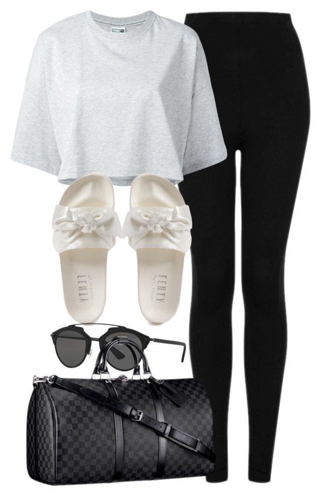 """Sin título #13013"" by vany-alvarado ❤ liked on Polyvore featuring Topshop, Puma, Christian Dior and Louis Vuitton"