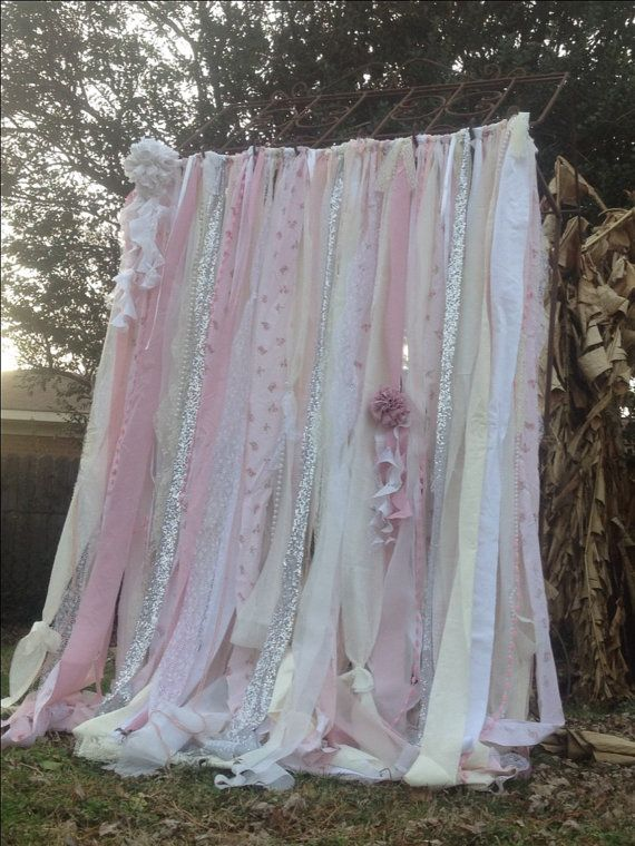 Shabby Chic Curtains with vintage Rachel Ashwell Fabric Ribbon and Sequin Backdrop Pink White and Ivory Sparkle Silver Glitter Rag Curtain