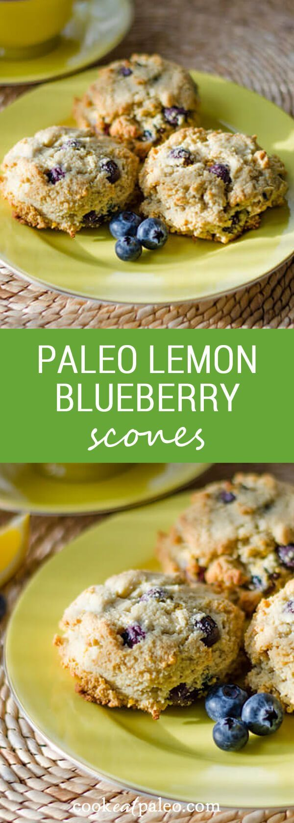 These paleo lemon blueberry scones are gluten-free, grain-free, dairy-free and refined sugar-free. Perfect for breakfast with... via @cookeatpaleo