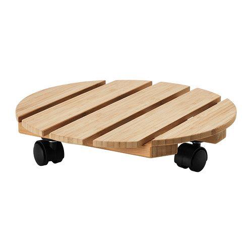 Ikea Vildapel round bamboo plant trolley 30 9.99€