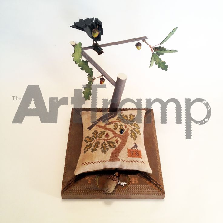"""""""Watchful Sewing"""" ~ Tramp Art Raven with acorn Pin Cushion Stand. Original design by David A. Schump a.k.a. The Art Tramp ©2013-2017"""