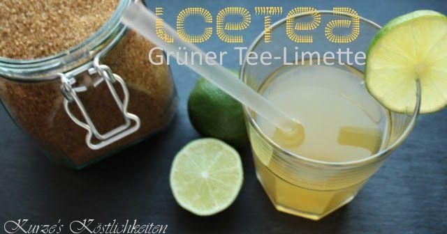 selbstgemachter Eistee, Grüner Tee, Schwarzer Tee, Limette