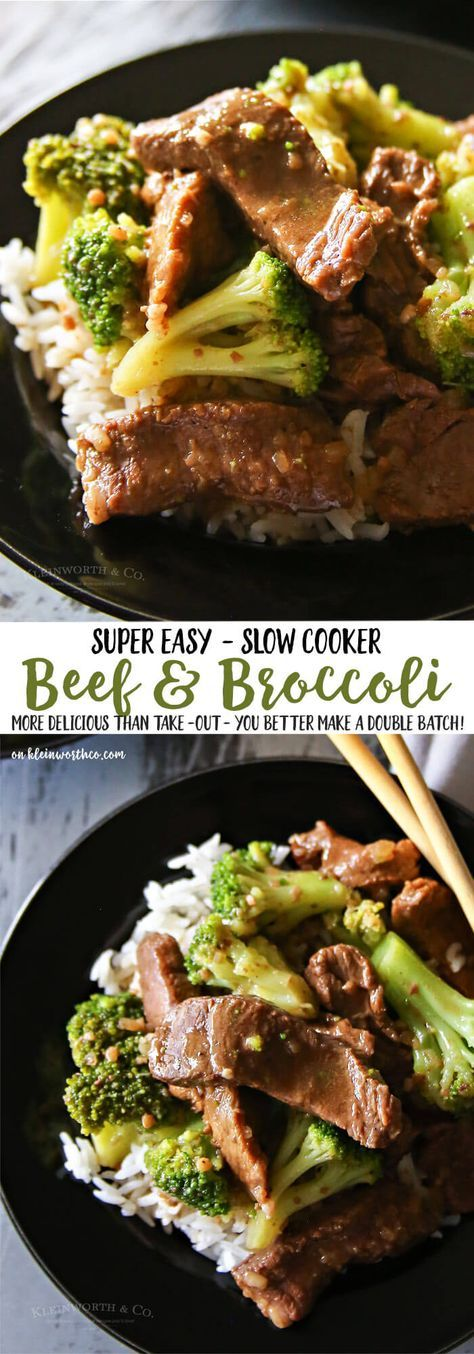 Slow Cooker Beef & Broccoli - Just toss in your ingredients & in just a few hours you have an easy family dinner that everyone loves. via @KleinworthCo