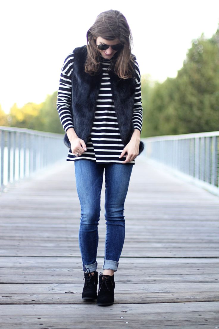 Fur vest and stripes // faux fur outfit // fall outfit // winter outfit ideas // striped shirt outfit