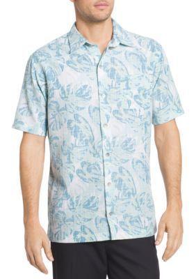 Van Heusen Men's Big & Tall Fan Leaves Printed Collar Shirt - Aqua Plume - 2Xlt
