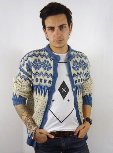 Vtg Mens Chunky Wool Norwegian Snowflake Cardigan Festive Knitwear Sweater XS | eBay