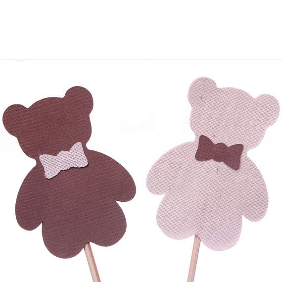 Teddy Bear Cupcake Toppers  Brown and Beige by MakeItMerryShop