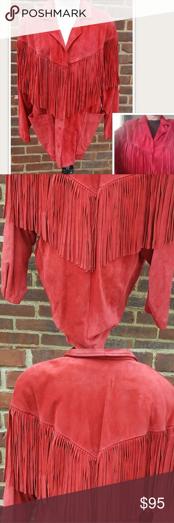 Fab vintage Fringe jacket M thru 1X Fabulous suede vintage jacket that is in wonderful condition. Although it is labeled a medium it is cut extremely big and it's me and I'm a 38DD., it measures 25 in under the arms and is 29 inches long. This is a heavy package by Poshmark standard so I can't do a super lowball offer as sellers undertake the extra postage Vintage Jackets & Coats