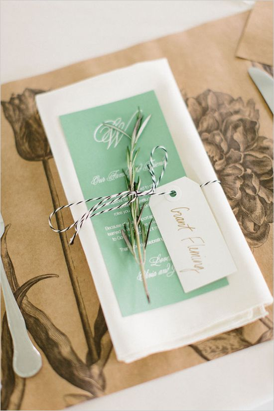 Simple place setting with rosemary sprig and bakers twine. Event Design: Laura Olsen Design --- http://www.weddingchicks.com/2014/05/12/are-you-a-camera-shy-bride-or-groom/