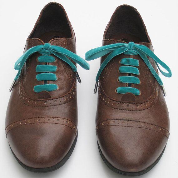 Velvet Ribbon Shoe Laces Aqua Teal Wedding
