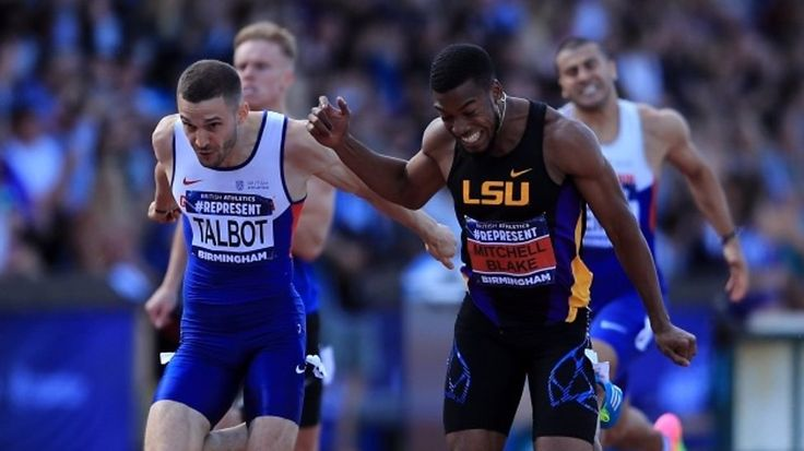 Nethaneel Mitchell-Blake wins the 200m at the British trials with Danny Talbot second - as both guarantee selection for the World Championships.