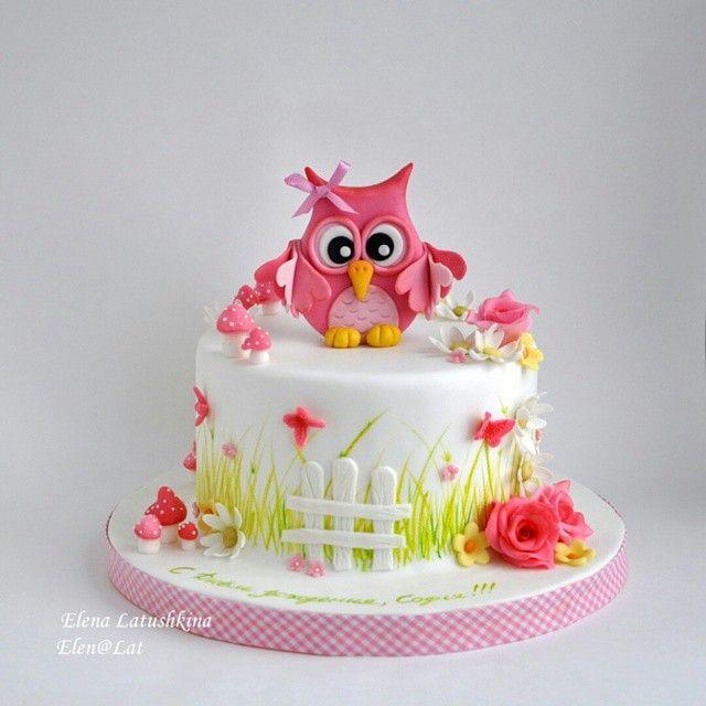 Pink Owl Cake