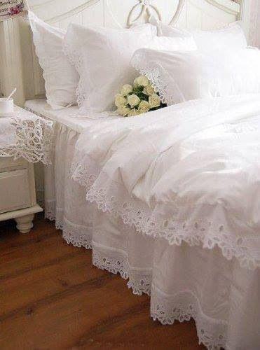 Shabby chic bedroom get white duvet cover add lace. voila ... :D
