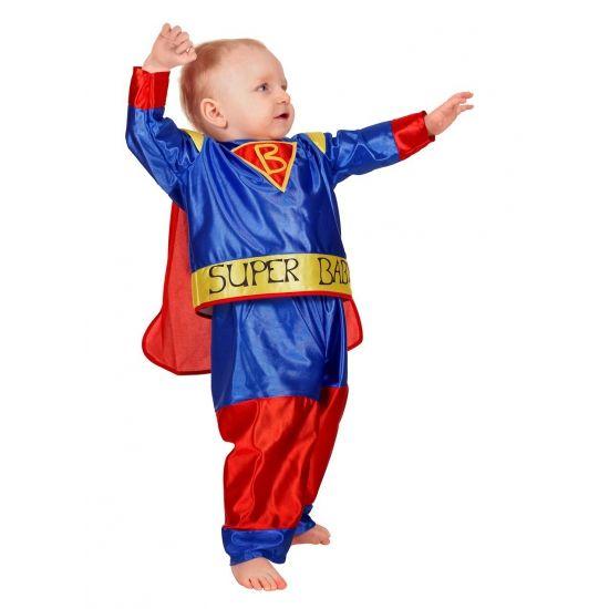 Superbaby kostuum. Dit schattige superbaby kostuum bestaat uit het shirtje met aangehechte cape en het broekje in de kleuren goud, blauw en rood, net als Superman. Carnavalskleding 2015 #carnaval
