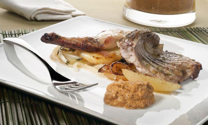 Receta de Conejo asado con romesco. Roasted Rabbit with romesco RECIPE