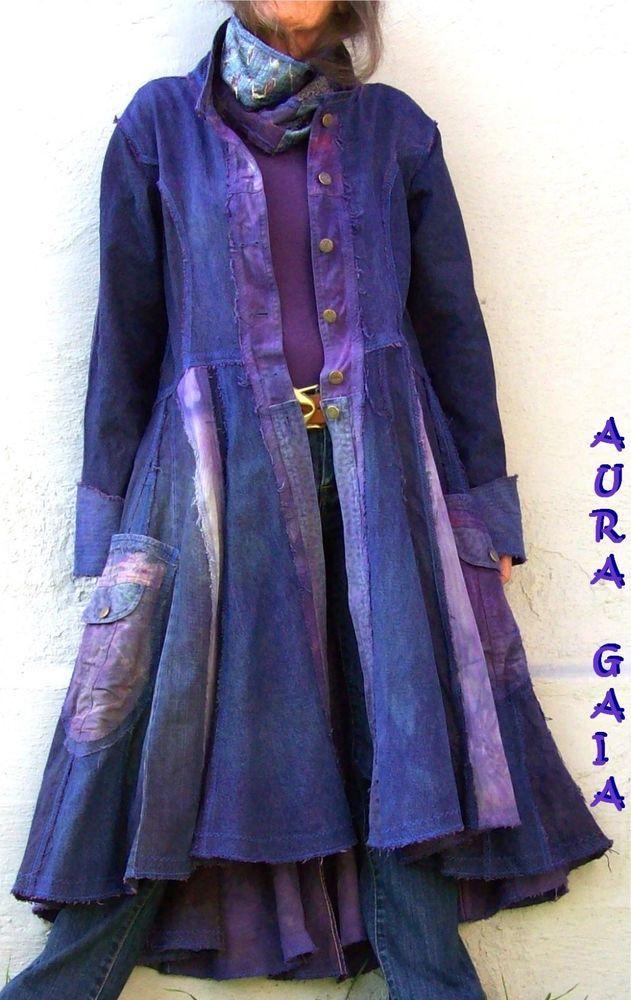 AuraGaia ~ IndigoPurple traveling coat duster in denims,,,upcycled, overdyed, rustic, raw-edged; tattered; ooak; handmade; hippie; shabby chic; boho