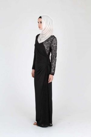 Black Lace Jersey #Hijab Dress