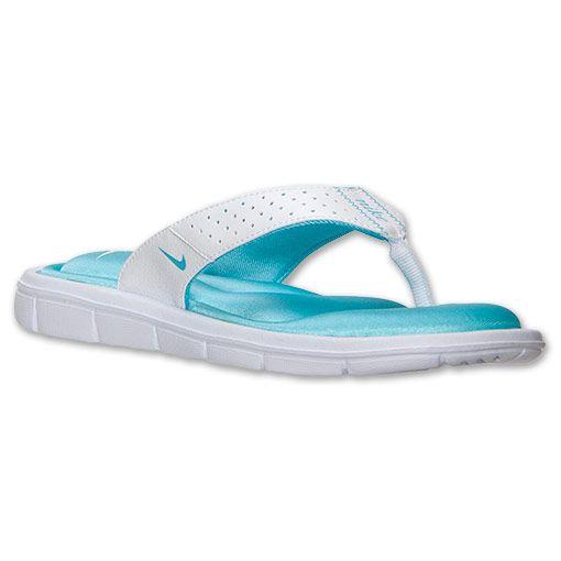 more photos c5cbb a154a blue and white nike flip flops