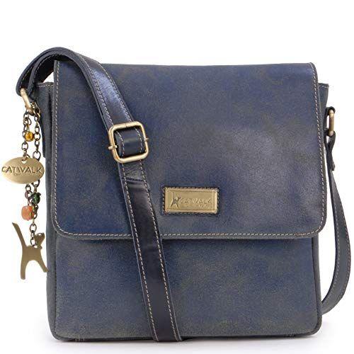 4814917d193c Catwalk Collection Handbags - Ladies Medium Distressed Leather Messenger Bag  - Women s Cross Body Organiser Work