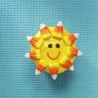 Hello Sunshine, this is super cute!Birthday, Cupcakes Ideas, Recipe, Candy Corn, Candies Corn, Food, Sun Cupcakes, Cupcakes Rosa-Choqu, Sunshine Cupcakes