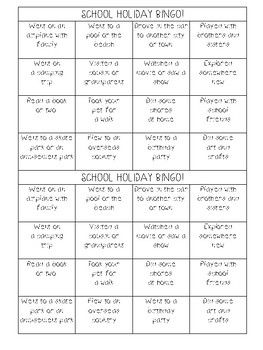 A fun and engaging back to school activity that can be completed after any school holidays. This is especially fun at the start of the school year so that students can get to know each other. Each student walks around the class with a bingo sheet and finds a peer