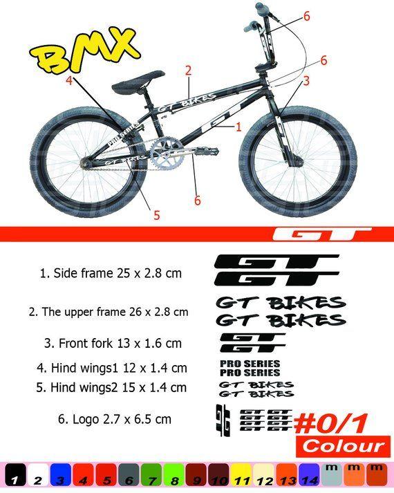 GT BMX Bike Sticker Set New Old School 4 stickers