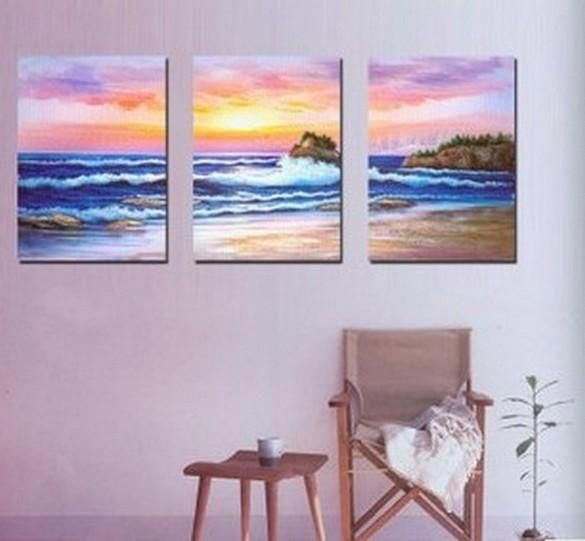 Sunrise Painting, Canvas Painting, Seascape Painting, Big Wave, Wall Art, Landscape Painting, Large Painting, 3 Piece Wall Art, Art Painting, Wall Hanging