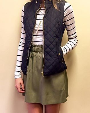 J. Crew paper bag skirt, striped shirt, black quilted vest, gold accessories