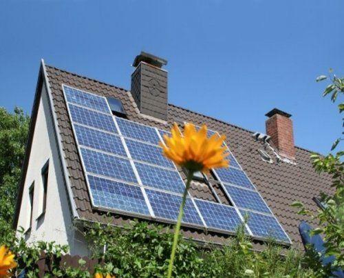 Solar panels on a sunny day in Astana, Kazakhstan